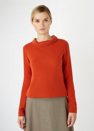 Audrey Wool Cashmere Sweater, Rust Orange, hi-res