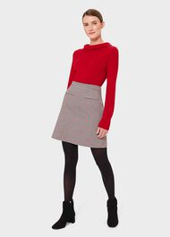 Vanetta Check A Line Skirt, Red Black, hi-res