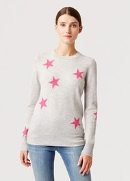 Alexandra Wool Cashmere Sweater, Grey Pink, hi-res