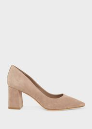Nicola Suede Court Shoes , Fawn, hi-res