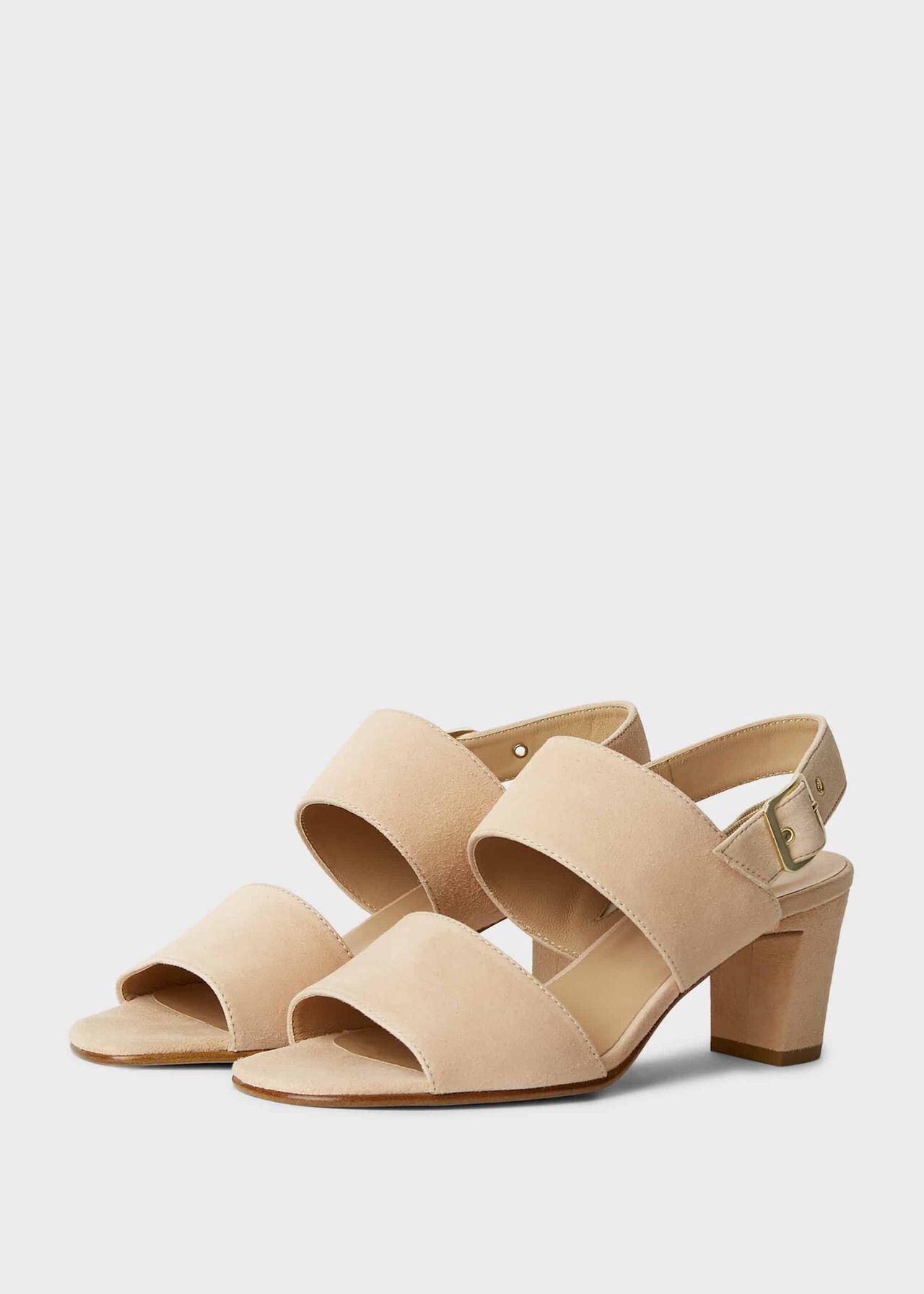 Katrina Suede Block Heel Sandals Blush