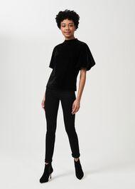 Robyn Velvet Top, Black, hi-res