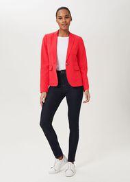 Petite Trinity Silk Linen Jacket , Red, hi-res