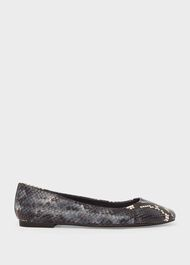 Jemma Leather Flat Shoes , Blue Multi, hi-res