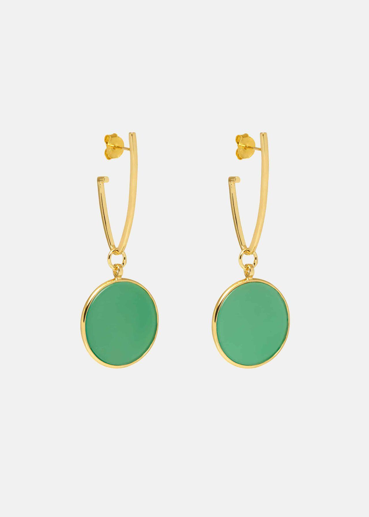 Plum Earring, Green Agate, hi-res