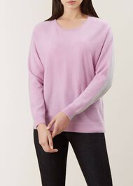 Georgia Wool Cashmere Sweater, Lilac Grey, hi-res