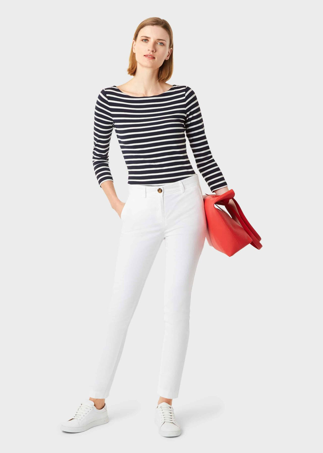 Striped Sonya Double Fronted Top, Navy Ivory, hi-res