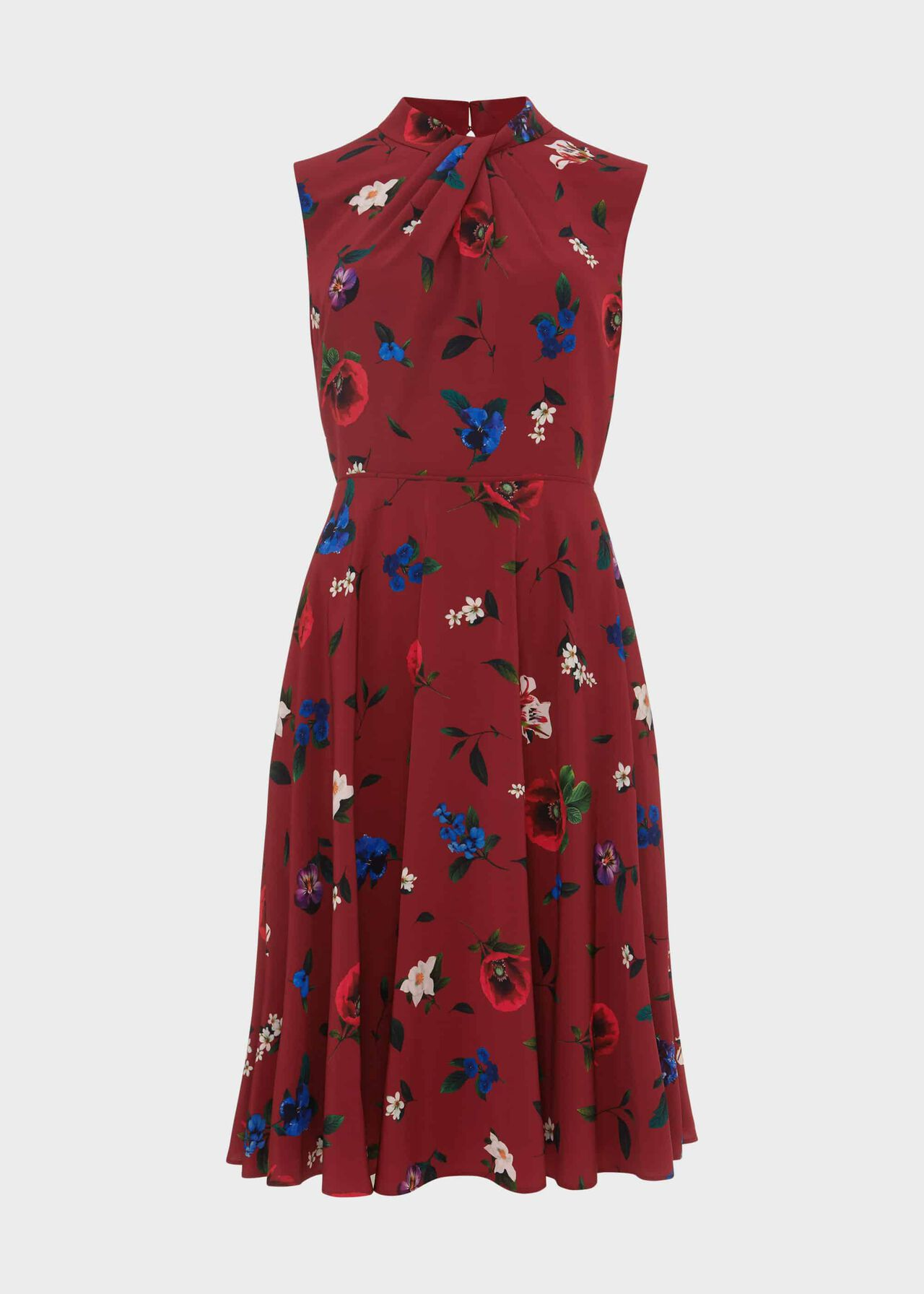 Amina Floral Twist Neck Dress Merlot Multi