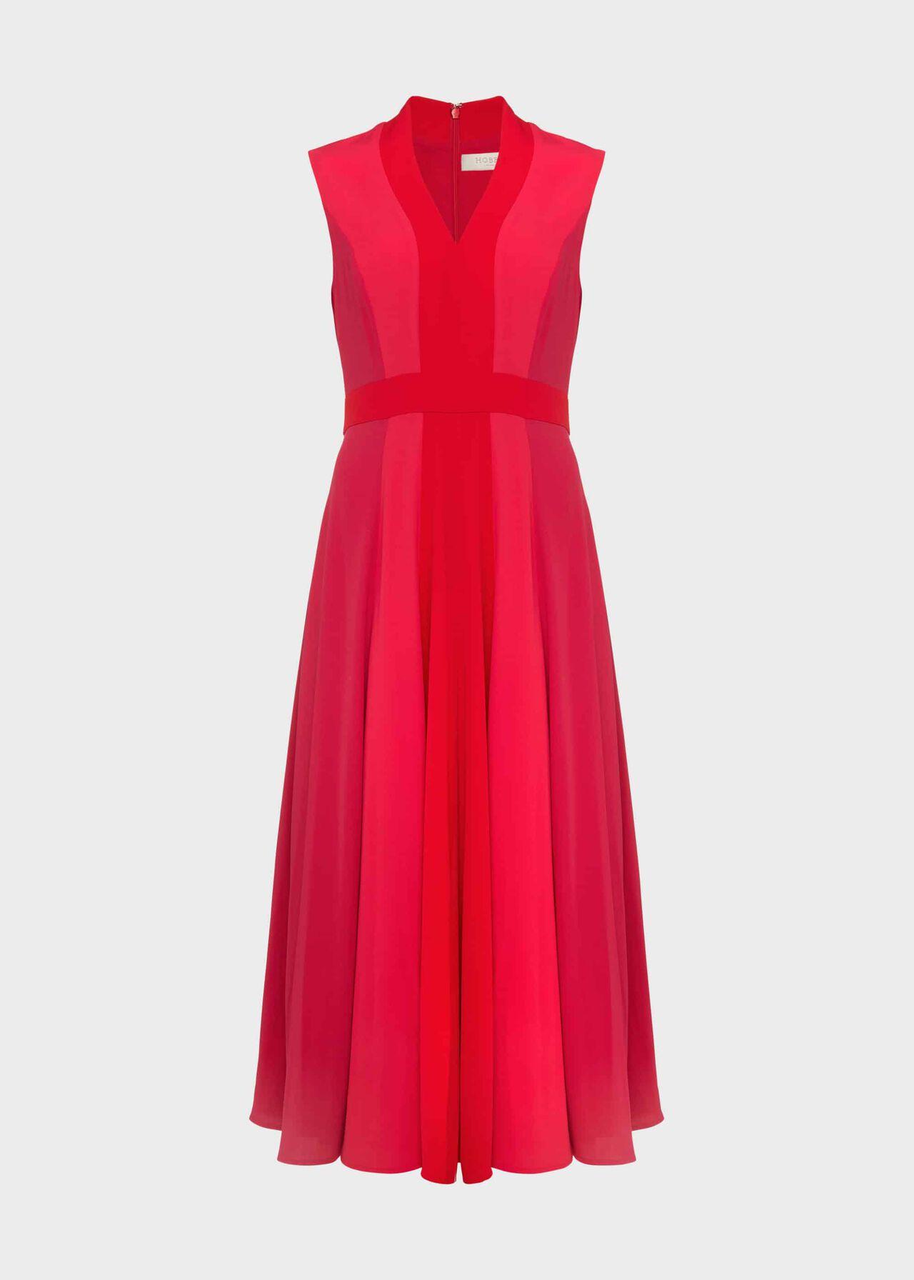 Jilly Colourblock V Neck Dress Raspberry Red