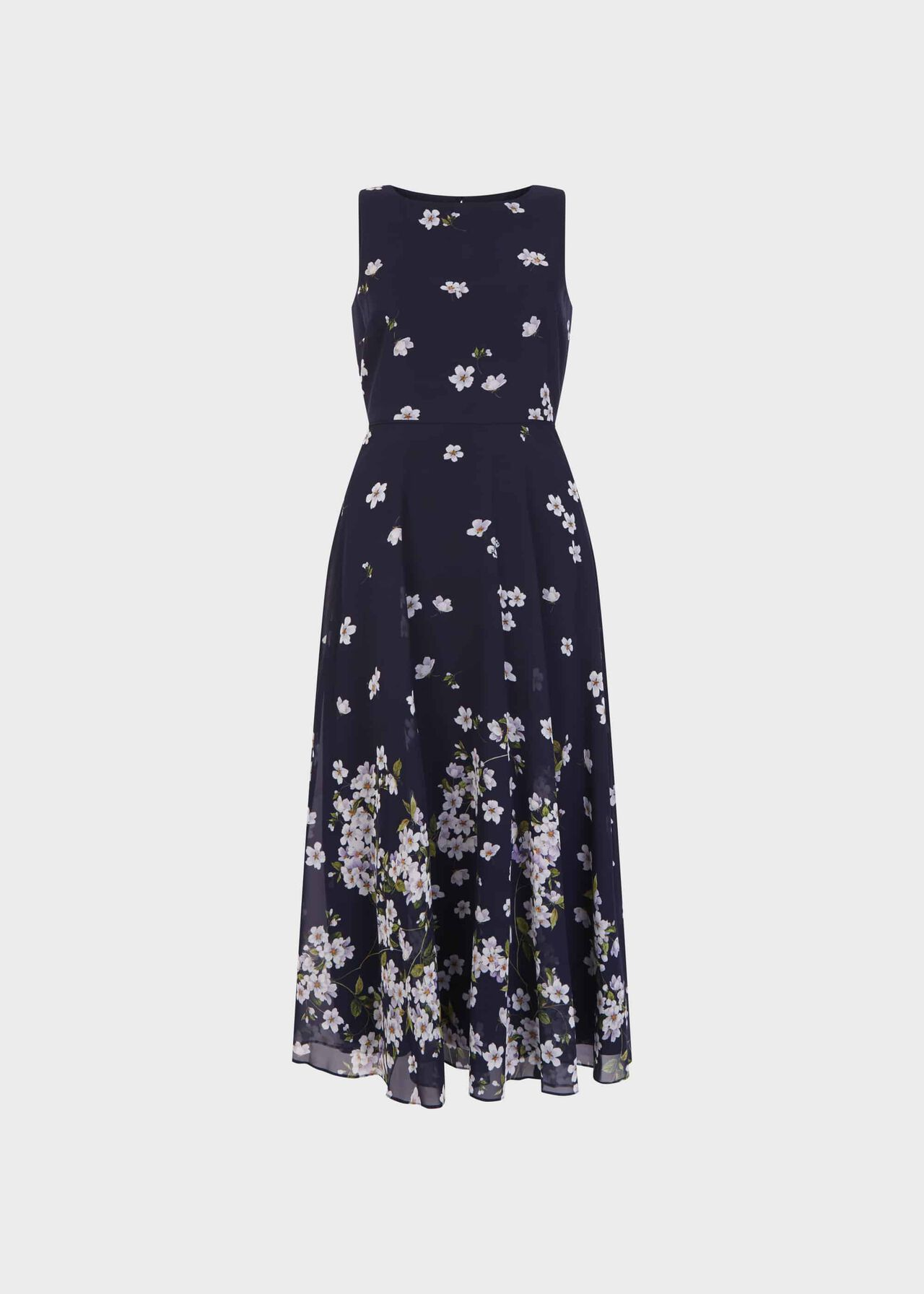 Petite Carly Floral Midi Dress Midnight Ivory