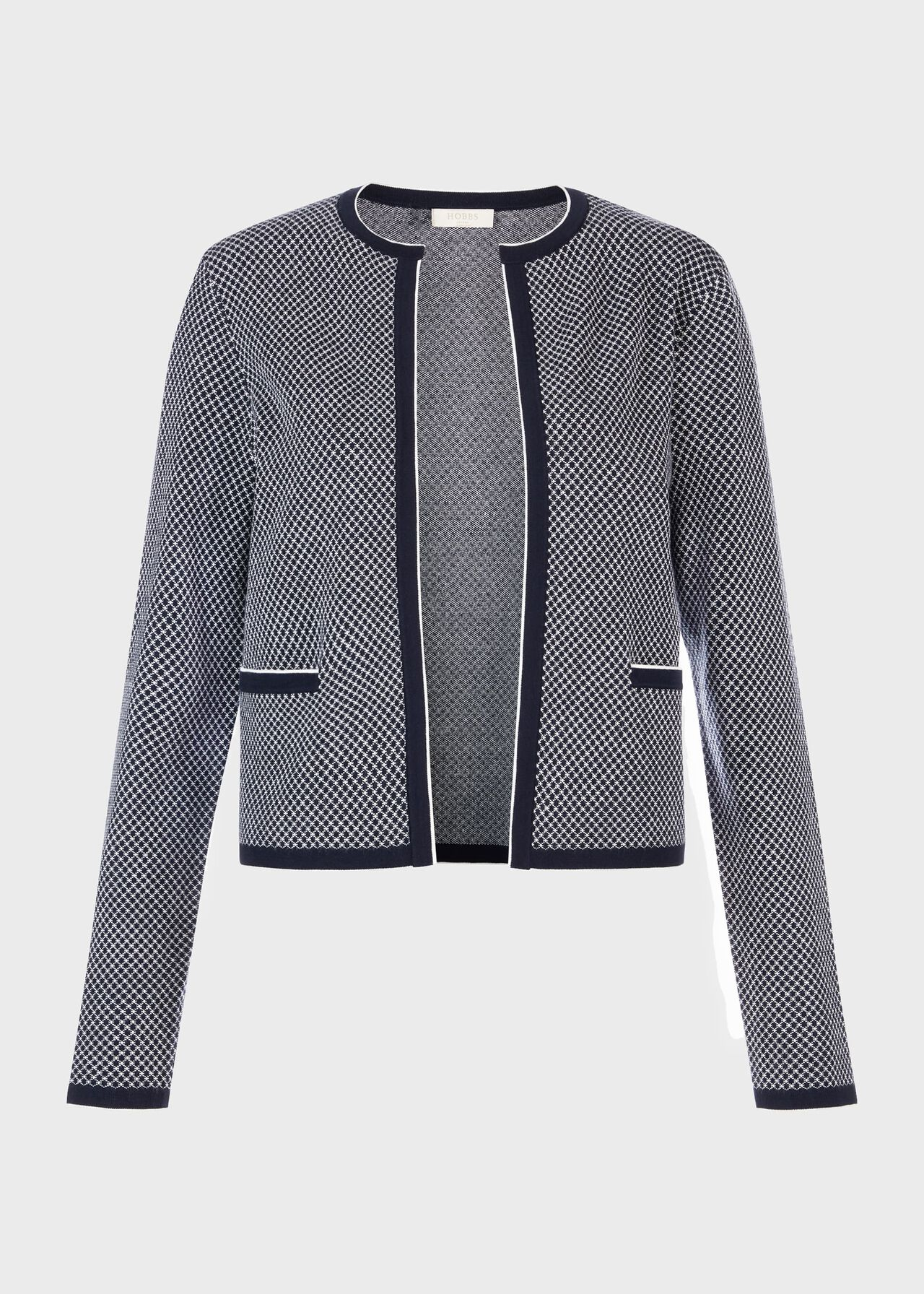 Sophie Knitted Jacket, Navy Ivory, hi-res