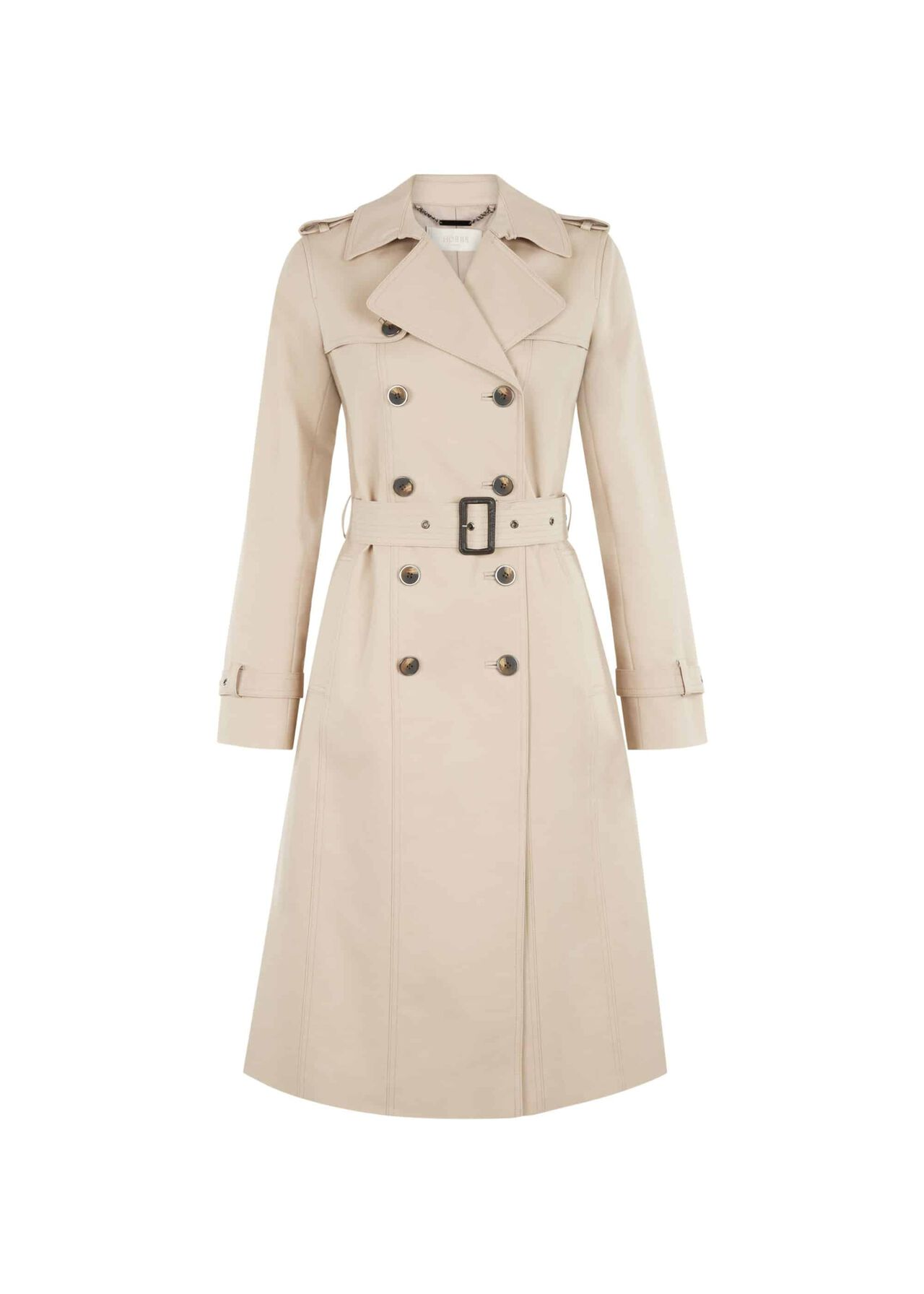 Long Karla Water-Resistant Trench Coat Clay