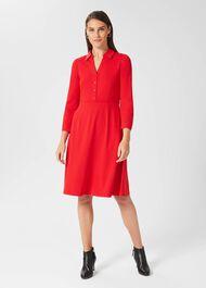 Tanya Ponte Dress, Crimson Red, hi-res
