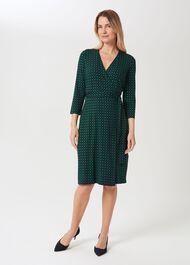 Delilah Jersey Wrap Dress, Navy Green, hi-res