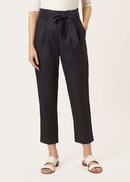 Hadlee Linen trousers, Navy, hi-res