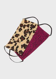 Pack Of Two Non-Medical Reusable Face Masks, Leopard Fuschia, hi-res