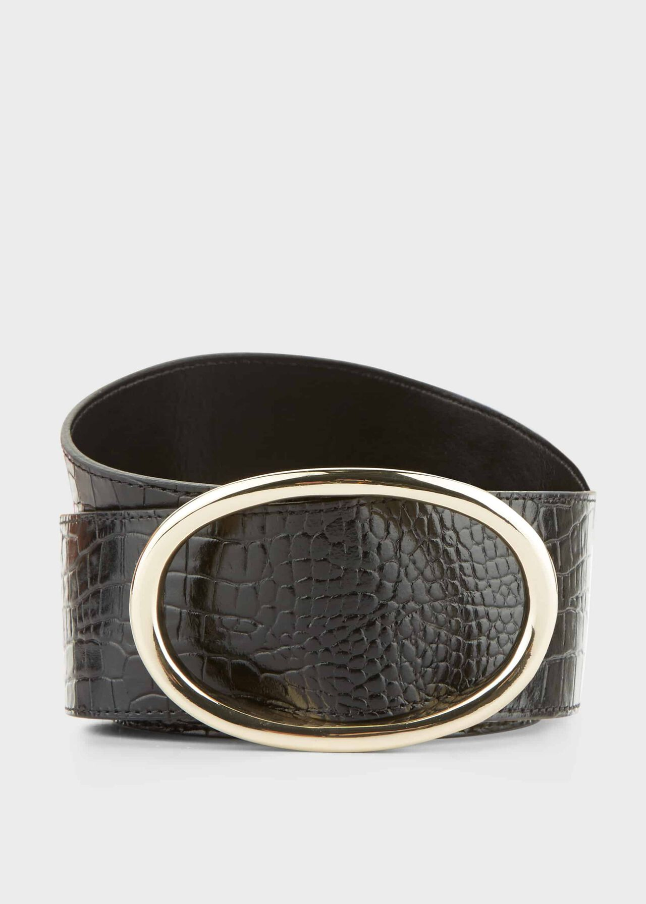 Riley Crocodile Print Belt , Black, hi-res