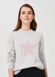 Trudy Cashmere Sweater, Grey Marl Pink, hi-res