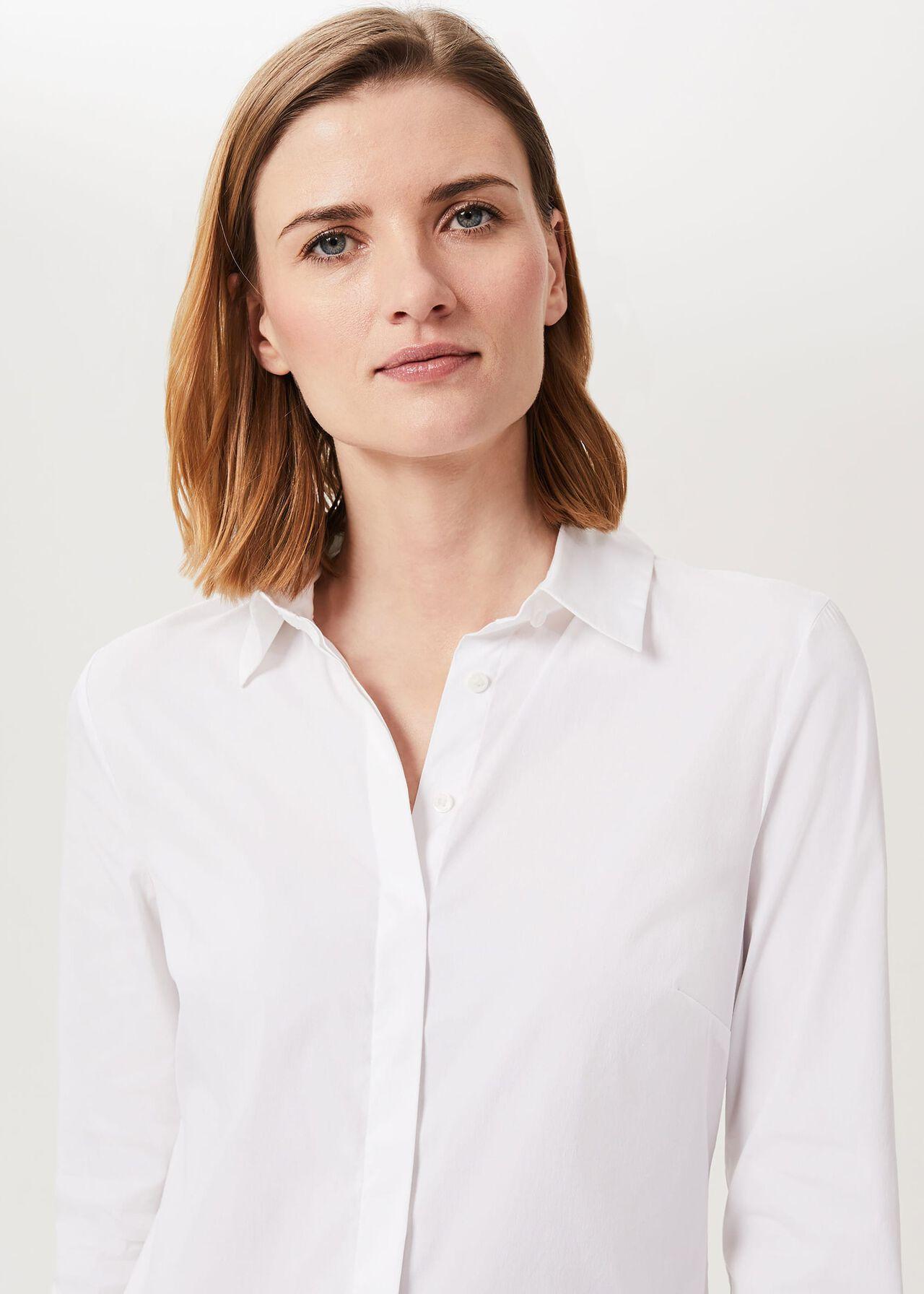 Victoria Cotton Blend Shirt, White, hi-res