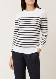 Striped Penny Merino Wool Sweater, Ivory Khaki, hi-res