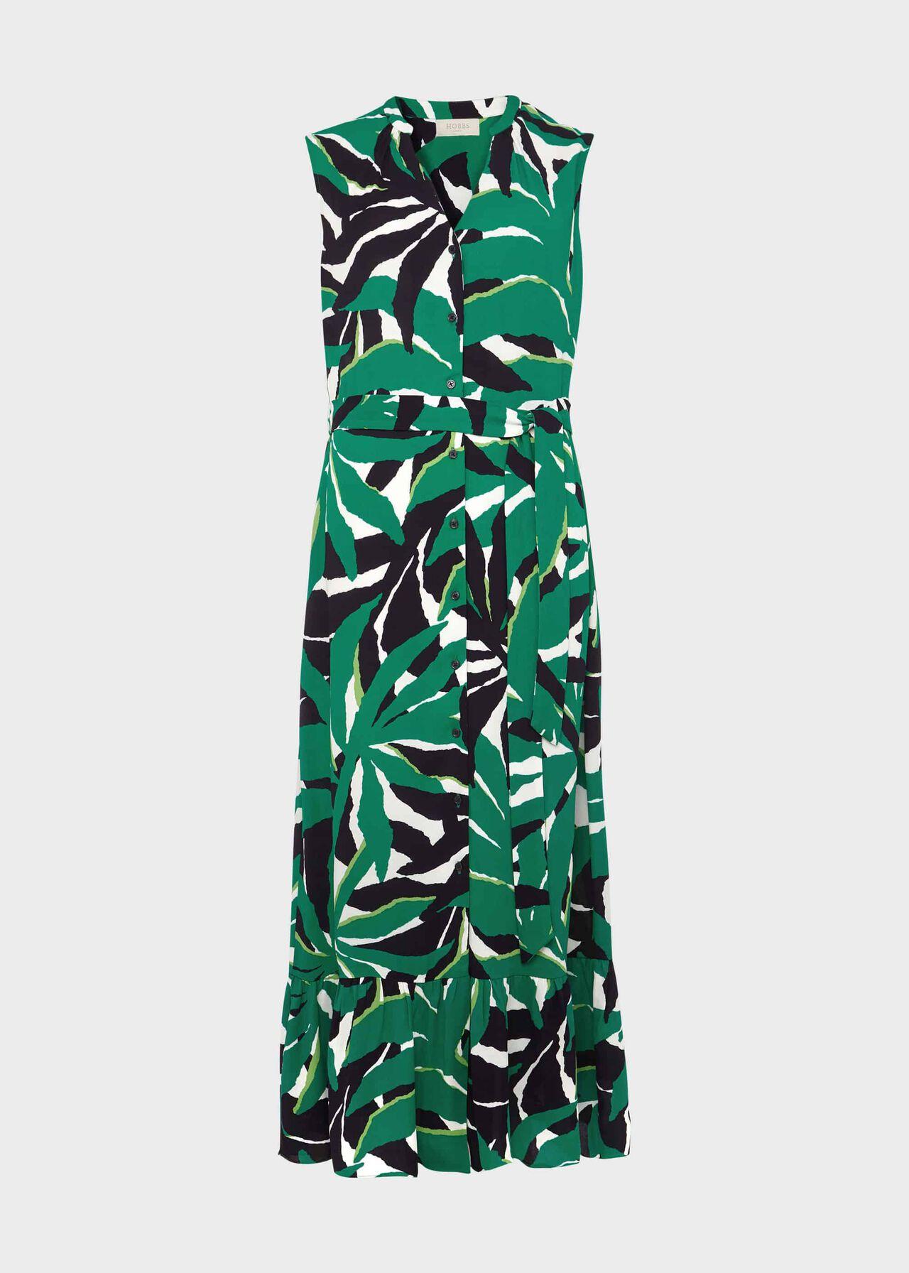 Petite Laurenza Printed Midi Dress Green Multi