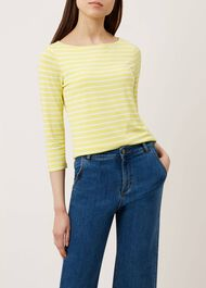 Striped Sonya Top, Yellow White, hi-res