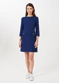 Dolly A Line Dress, Ocean Blue, hi-res