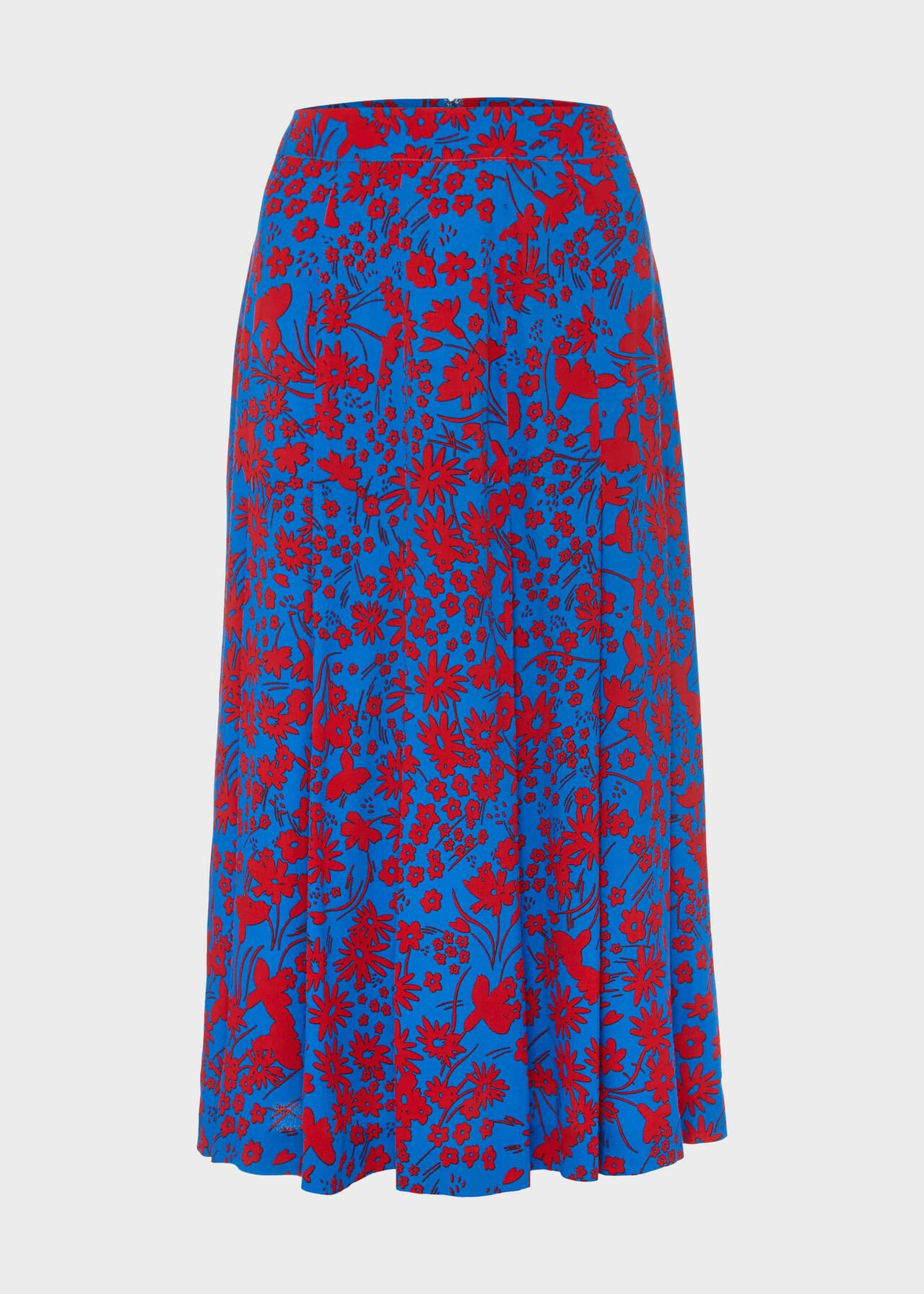 Diane Floral Midi Skirt Red Azure Blue