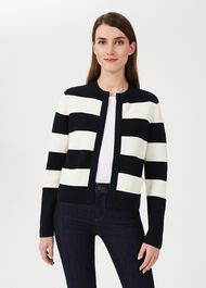 Jess Cotton Stripe Knitted Jacket, Navy Ivory, hi-res