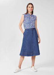 Freida Denim Midi Skirt, Blue, hi-res