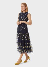 Bethany Embroidered Dress, Midnight Yellow, hi-res
