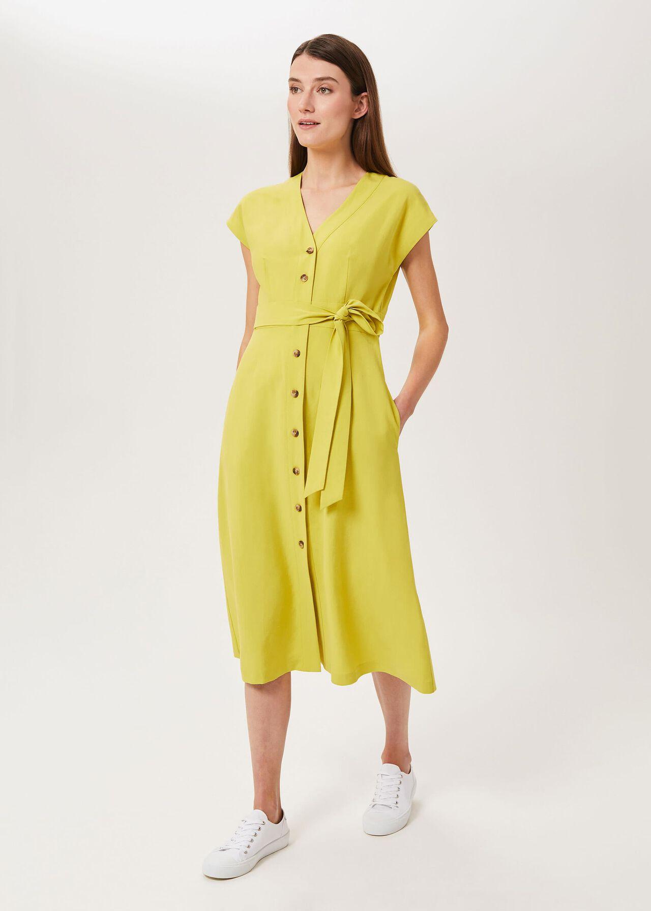 Nima Midi Dress, Chartreuse, hi-res