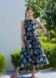 Carly Floral Midi Dress, Midnight Multi, hi-res
