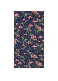Flamingo Print Scarf, Navy, hi-res