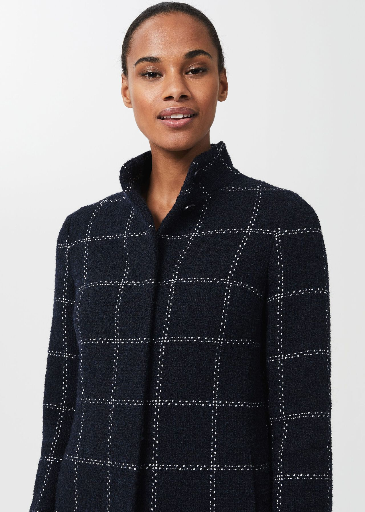 Lisa Wool Blend Check Coat, Navy Ivory, hi-res