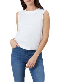 Ruby Linen Top, White, hi-res