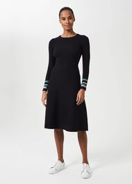 Clare Knitted Dress, Navy Multi, hi-res