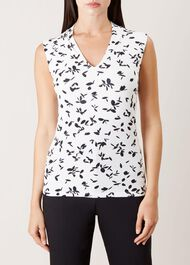 Aimee Printed Top, Ivory Navy, hi-res