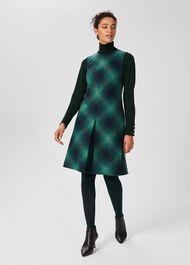 Mariella A Line Shift Wool Dress, Green Multi, hi-res