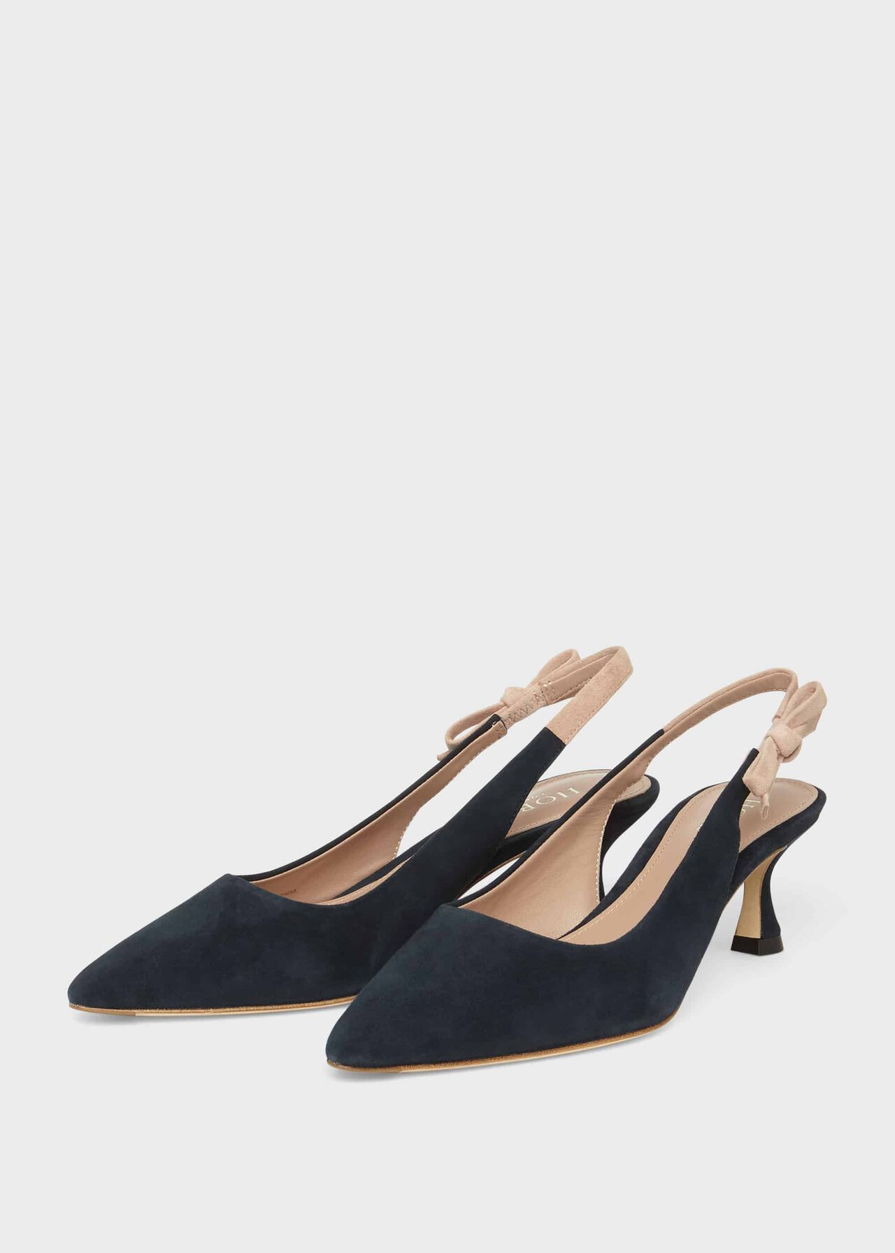 Julia Suede Slingback Shoes Navy Fawn