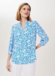 Essie Printed Blouse, Azure White, hi-res