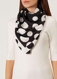 Madeline Silk Scarf, Ivory Black, hi-res