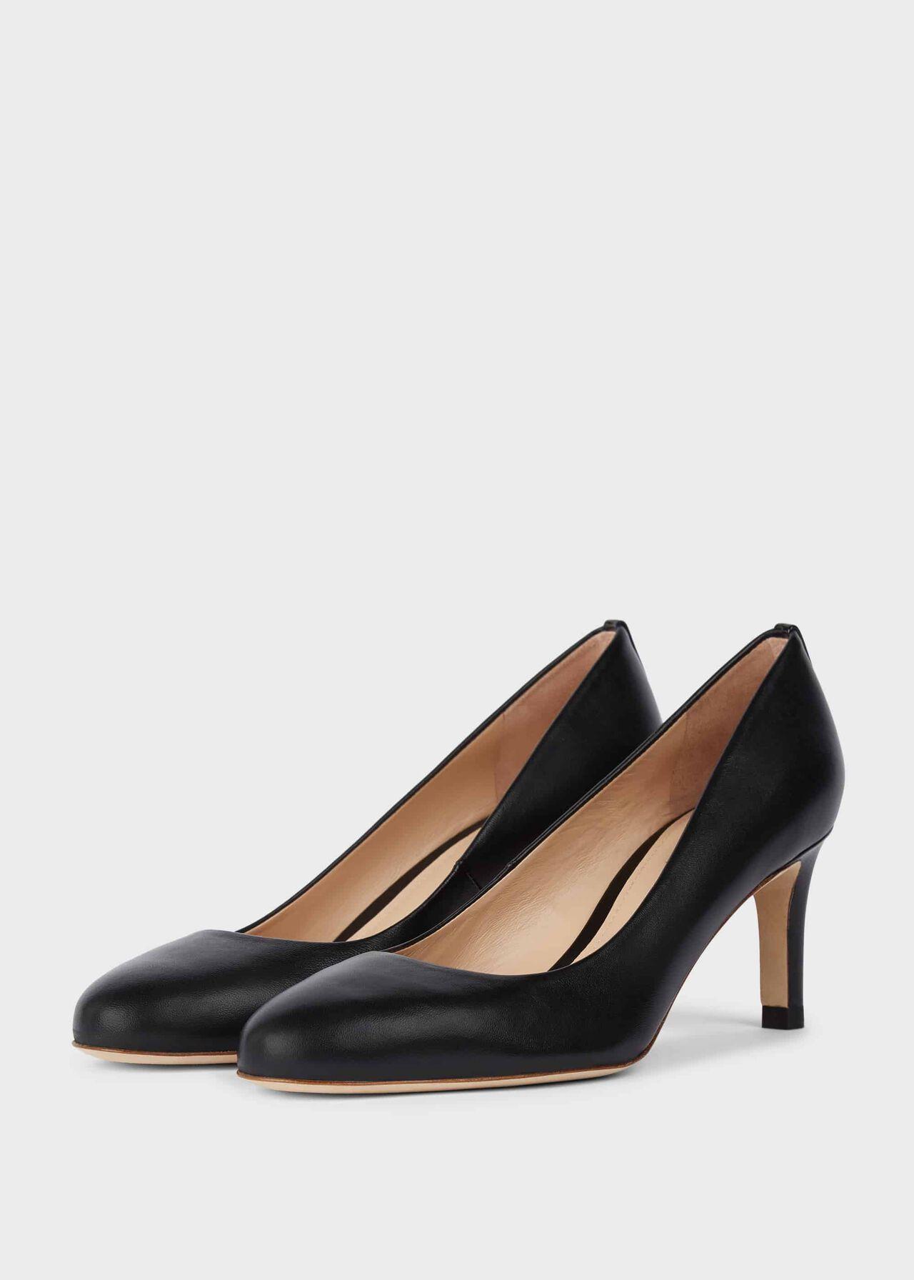 Lizzie Leather Stiletto Court Shoes Black