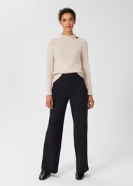 Pippa Jersey Wide Leg Trousers, Navy, hi-res