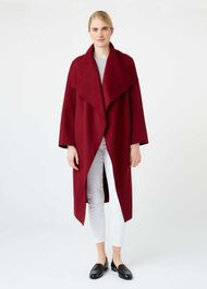 Odelia Double Face Wool Blend Coat, Berry, hi-res