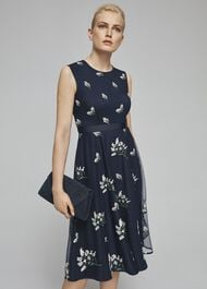 Petite Julia Embroidered Dress, Midnight, hi-res