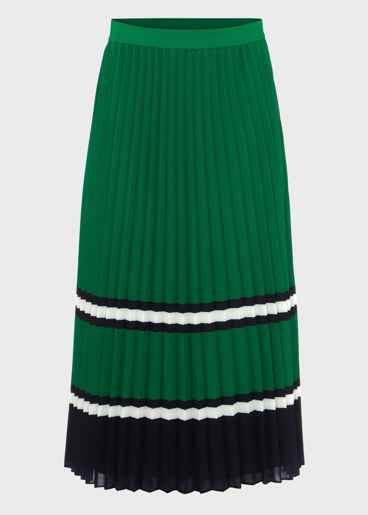 Bess Pleated Midi Skirt Green Multi