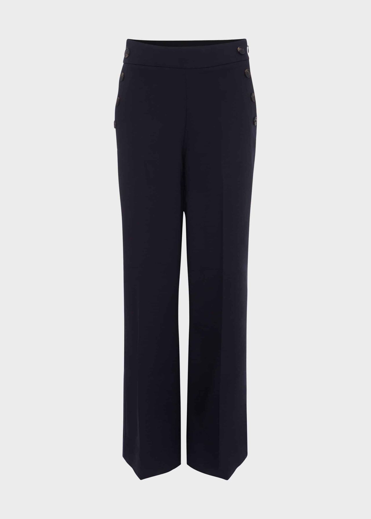 Simone Cotton Blend Wide Leg Trousers, Navy, hi-res