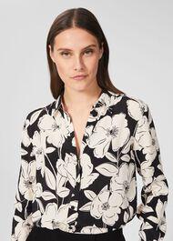 Lorraine Floral Shirt, Cream Black, hi-res