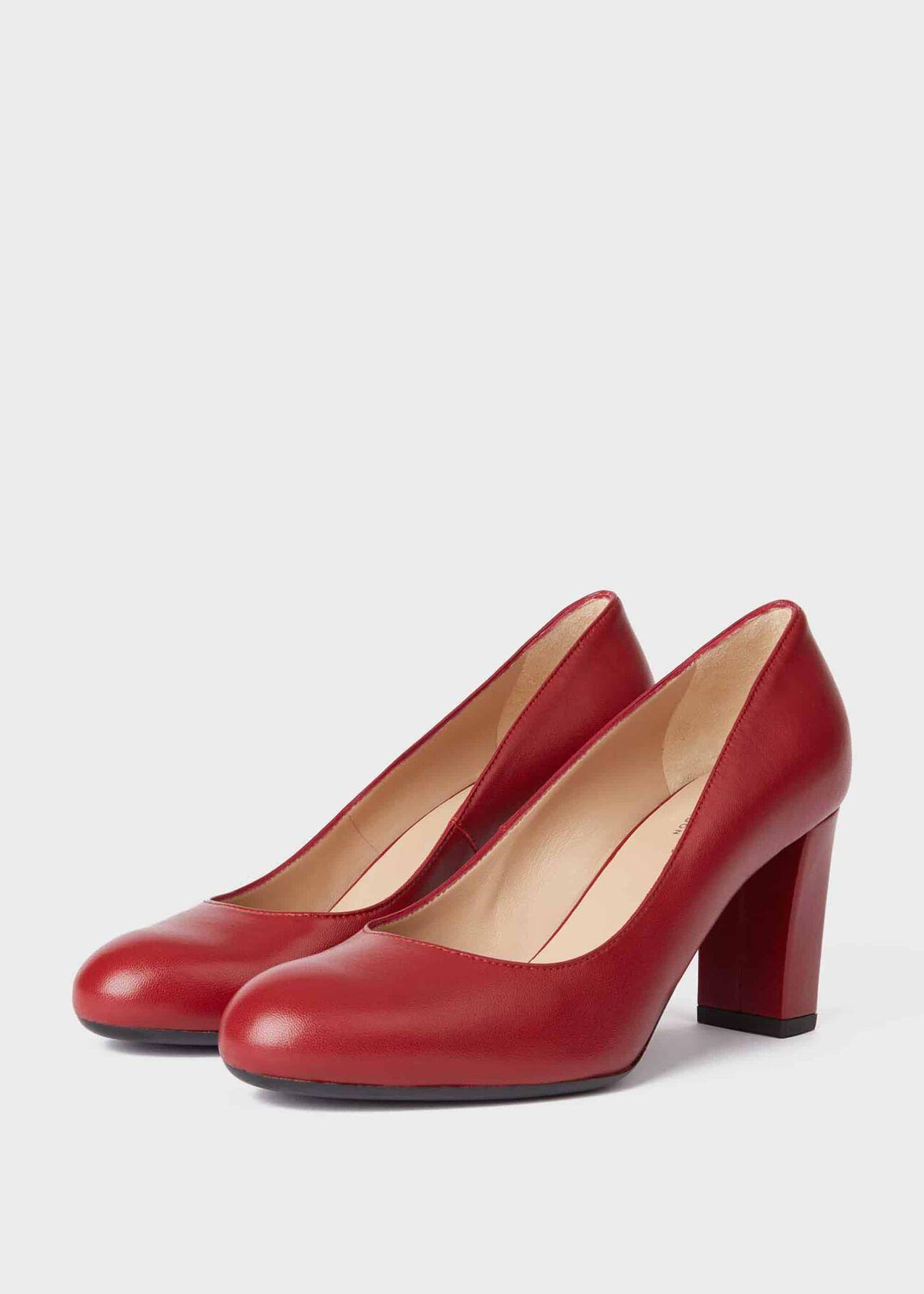 Sonia Leather Block Heel Court Shoes Dark Cherry
